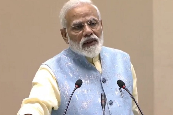PM Narendra Modi confers the National Youth Parliament Festi...