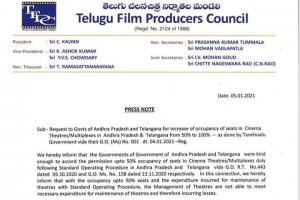 Telugu Film Producers Council Requests For 100% Occupancy in...