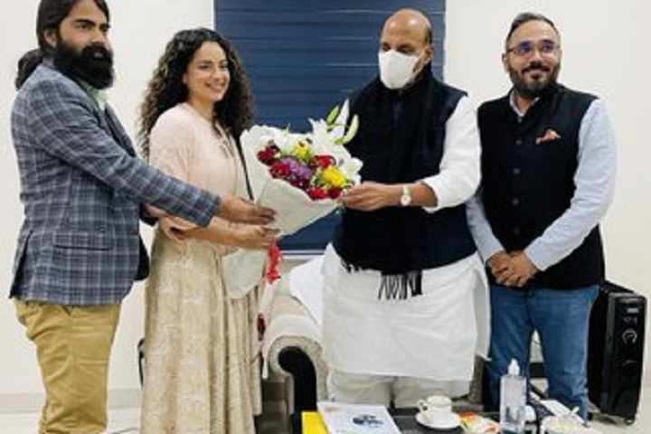 Team Tejas Led By Kangana Ranaut Meet Defence Minister Rajnath Singh To Discuss The Movie